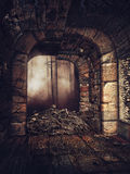 Old crypt with a pile of bones Stock Images