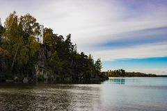 Old crypt on a rock on the lake in the Mon Repos reserve royalty free stock photos
