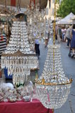 Old crystal lamps on antique market in Arezzo Tuscany Royalty Free Stock Image