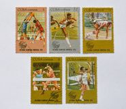 Old Cuba postage stamps, sports Stock Photo