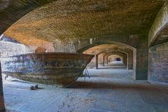 Cuban Chug at Fort Jefferson. Old, Cuban Chug, used by Cuban migrants of the past, trying to step foot on dry land in the USA - at Fort Jefferson, Dry Tortugas stock image