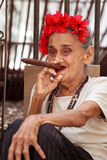 Old cuban lady smoking cigar. Stock Images