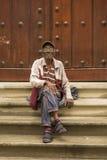 Old Cuban man with cigar sitting Havana Royalty Free Stock Photography