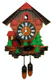 Old cuckoo clock. Isolated on white. Clipping path included Stock Photos