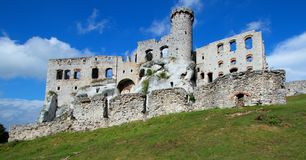 A stone castle on the hill stock photos