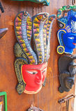 The old culture. The masks are traditional handmade souvenirs in Sri Lanka, craftsmen offer Sinhalese and Indian masks, Galle Stock Photos