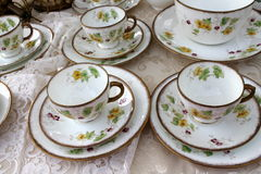 Old cups of tea. Old cups for teaon the table stock images