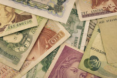 Old currencies banknotes Stock Image