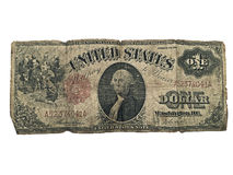 Old Currency Dollar Bill. A one dollar bill from 1917.  It's tattered and torn showing many years of use Stock Photos