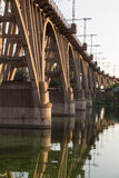 Old curved  railway bridge over river Dnieper . Dnepropetrovsk. Stock Images