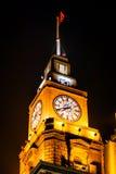 Old Customs Building Clock Flag Bund Shanghai China at Night Royalty Free Stock Image