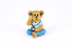 Old cute bear polyresin doll isolated Royalty Free Stock Images