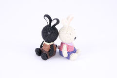 Old cute black and white rabbit polyresin doll isolated Royalty Free Stock Photography