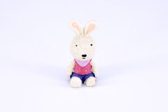 Old cute white rabbit polyresin doll isolated Stock Image