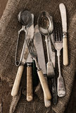 Old cutlery. A lot of old kitchen utensils Royalty Free Stock Image