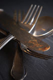 Old cutlery. For a black background Royalty Free Stock Image