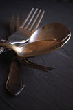 Old cutlery. For a black background Stock Photos