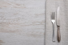 Old cutlery on cloth Royalty Free Stock Image