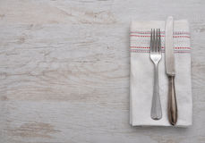 Old cutlery on cloth Royalty Free Stock Photo