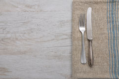 Old cutlery on cloth Stock Photo