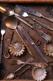 Old cutlery and keys Stock Photo