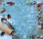 Old cutlery and spices Stock Photo