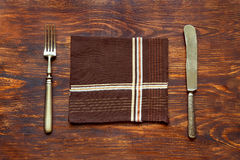 Old cutlery on the table Royalty Free Stock Photography