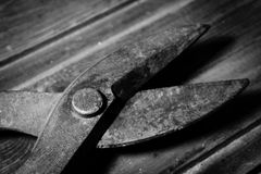 Old cutting tools. Grandfather`s work tools stock images