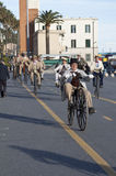 Old cycle cycling through history event in Imperia Royalty Free Stock Photo