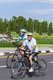 Old cyclist in prepared  Royalty Free Stock Photo