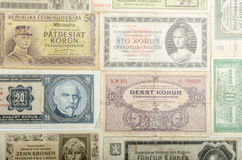 Old Czech banknotes, money Royalty Free Stock Photo