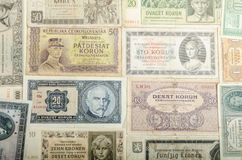 Old Czech banknotes, money Stock Images