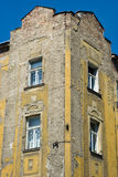 Old czech house fragment. Fragment of old czech house in Zizkov (Prague district). Czech Republic Stock Photo