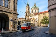 Old Czech tram on Malostranska Square in Prague. Prague, Czech Republic - June 5, 2017: Old Czech tram on Malostranska Square in Prague Stock Images