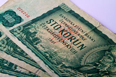 Old Czechoslovak banknotes Stock Image