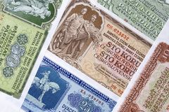 Czechoslovak koruna, a background. Old Czechoslovak koruna, a background Stock Photography