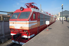 Old Czechoslovak passenger electric CHS200 of railway in St. Petersburg Royalty Free Stock Image