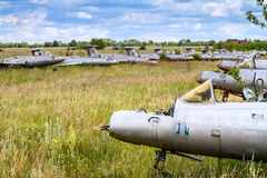 Old czechoslovakian Aero L-29 Delfin Maya military jet trainer aircrafts. On an abandoned airfield in Ukraine royalty free stock image