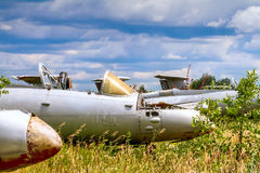 Old czechoslovakian Aero L-29 Delfin Maya military jet trainer aircrafts. On an abandoned airfield in Ukraine Royalty Free Stock Images