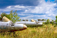 Old czechoslovakian Aero L-29 Delfin Maya military jet trainer aircrafts. On an abandoned airfield in Ukraine Royalty Free Stock Photos
