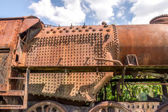 Old Czechoslovakian CSD steam engine on graveyard, rusty, boiler detail Stock Images