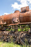 Old Czechoslovakian CSD steam engine on graveyard, rusty, boiler detail Stock Photography