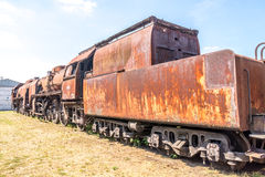 Old Czechoslovakian CSD steam engine on graveyard, rusty Royalty Free Stock Photography