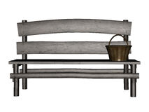 Old 3d bench. Digitally rendered illustration of an old wooden bench on white background Royalty Free Stock Photography
