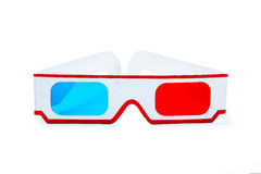 Old 3D paper glasses on white background Royalty Free Stock Photos