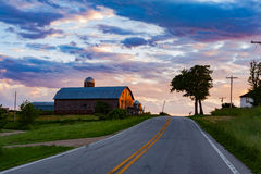 Old Dairy Barn at Sunset Royalty Free Stock Images