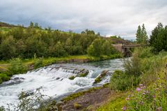 An old dam in Glera river in North Iceland Royalty Free Stock Photography