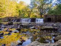 Old Dam on a River in Autumn Stock Image