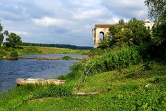 Old dam on the river stock image