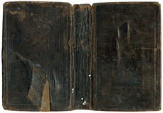 Old damaged book cover. Circa 1880 Stock Image